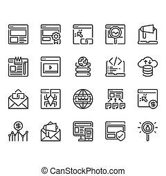 Search engine optimization and web icon set. Vector illustration