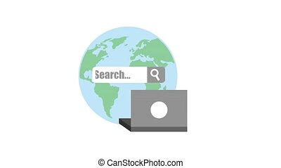 search engine optimization animation hd - laptop and search...