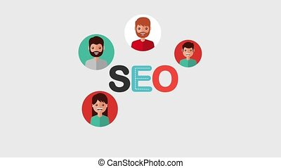search engine optimization animation hd - seo letters people...