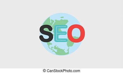 search engine optimization animation hd - seo text and globe...
