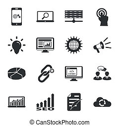 Search engine optimization black and white flat icons set - ...