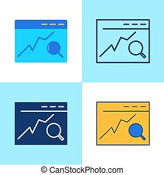 Search engine optimization icon set in flat and line style