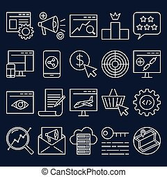 Search engine optimization icon set in thin line style