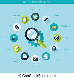 Search engine optimization process - Flat design concept