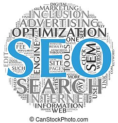 Search engine optimization SEO concept in word tag cloud on...