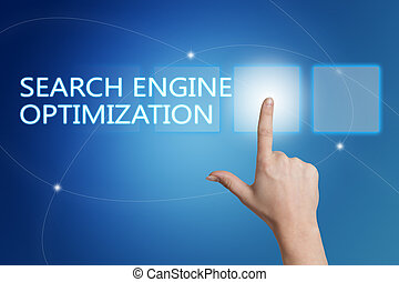 Search Engine Optimization - hand pressing button on...