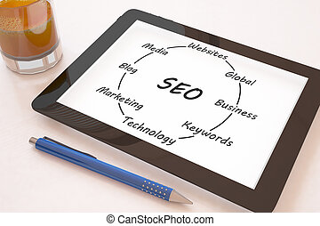 Search Engine Optimization - text concept on a mobile tablet...