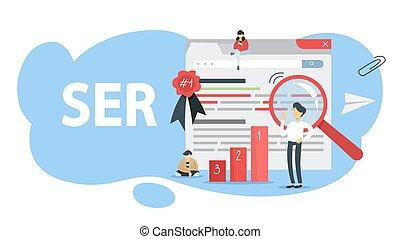 Search engine ranking concept. Idea of SEO