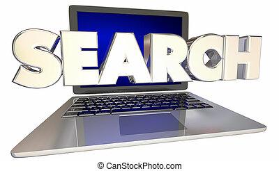 Search Engine SEO Computer Laptop Internet Online 3d Illustration