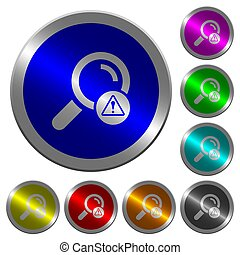 Search error luminous coin-like round color buttons