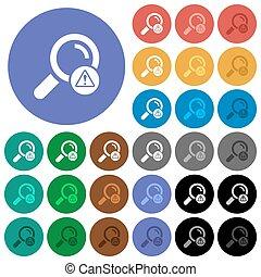 Search error round flat multi colored icons