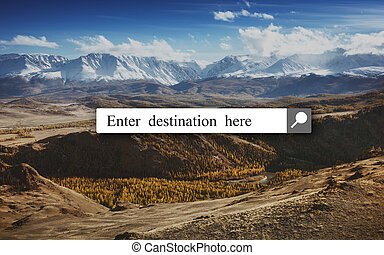 Search explore destination concept with  box and mountains backdrop