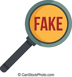 Search fake news icon flat isolated vector