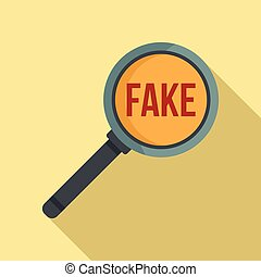 Search fake news icon, flat style