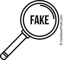 Search fake news icon, outline style