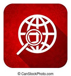search flat icon, christmas button