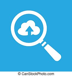 search flat icon with cloud and arrow on a blue background