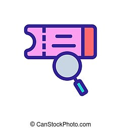 Search for a ticket icon vector. Isolated contour symbol illustration