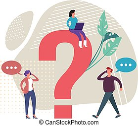 Search for answers concept. Vector graphic design flat cartoon illustration