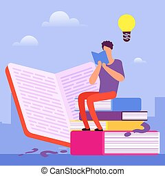 Search for answers to questions in books. Self education vector concept