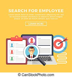 Search for employee, hiring concept