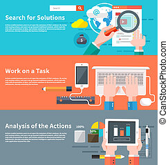 Search for solutions infographic. Concept of businessman...