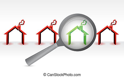 search for the perfect home. magnify concept illustration ...