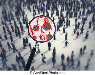 Search for the virus among people with a magnifying glass. 3D Rendering