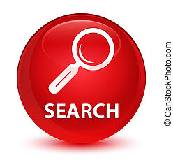 Search glassy red round button