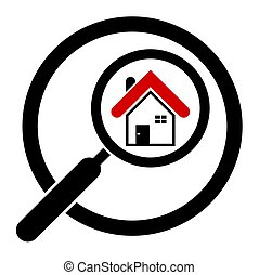 Search house icon in a circle. Real estate. Magnifier. Isolated