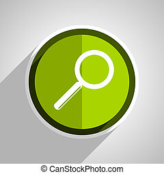 search icon, green circle flat design internet button, web and mobile app illustration