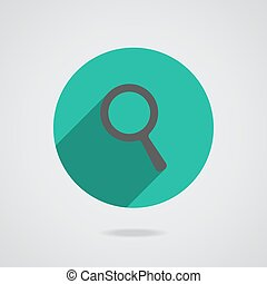 Search Icon. Magnifying Glass. vector illustration with soft shadow on a gray background