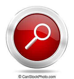 search icon, red round glossy metallic button, web and mobile app design illustration