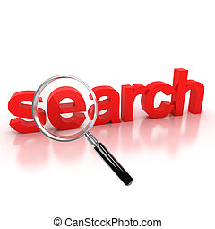 search icon - search 3d letters under the magnifier 3d illustration