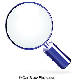 Vector illustration of blue search icon on white background