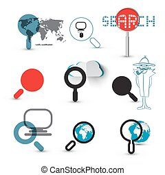 Search Icons. Magnifying Glasses Set with World Map, Globe, Detective and Computer Symbols.