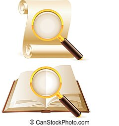 Search icons. - Two magnifying glass focused on opened book ...