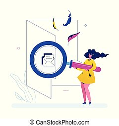Search in a folder - flat design style colorful illustration