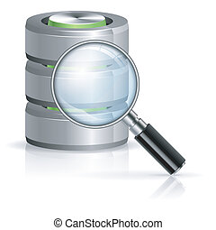 Magnifying Glass Searching in Database icon, isolated on white, vector illustration