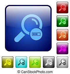 Search in progress color square buttons