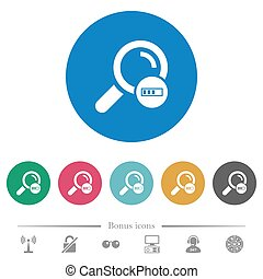 Search in progress flat round icons
