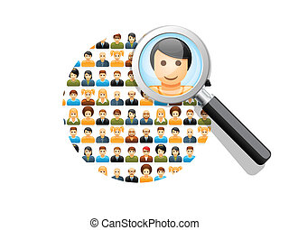 Social network search and connections concept with magnifying glass