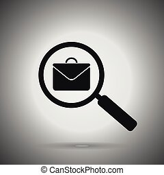 search job icon. magnifier and briefcase . Search job concept