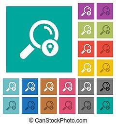 Search location square flat multi colored icons