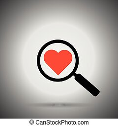 search love icon. magnifier and heart. Find love concept.