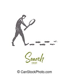 Search, magnifier, detective, glass, internet concept. Hand drawn isolated vector.