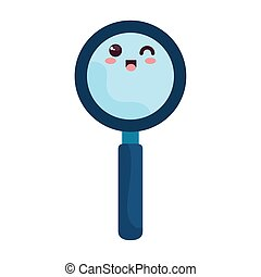 search magnifying glass kawaii style, on white background