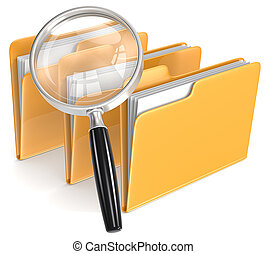 Search. - Magnifying Glass over 3 folders. Orange.