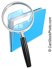 Search. - Magnifying Glass over folder. Blue.