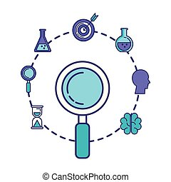 search magnifying glass with business icons